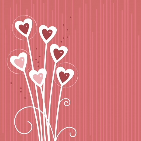 pastel flowers: Cartoon background with abstract hearts  Illustration