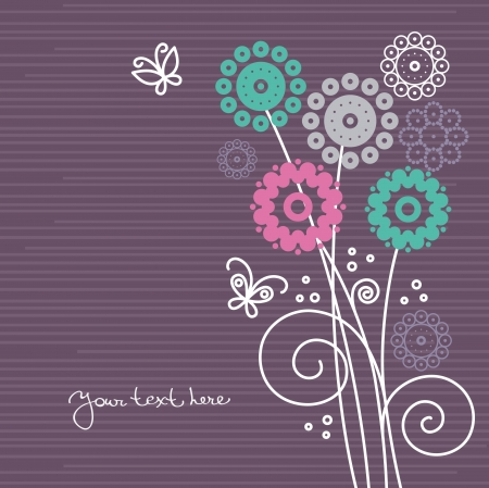 cartoon flower: Floral background with cartoon butterflies Illustration