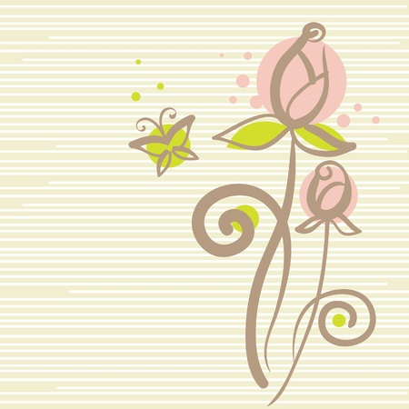 Floral background with butterfly Stock Vector - 15858155