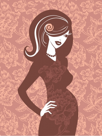 Beautiful pregnant woman in flowers Vector