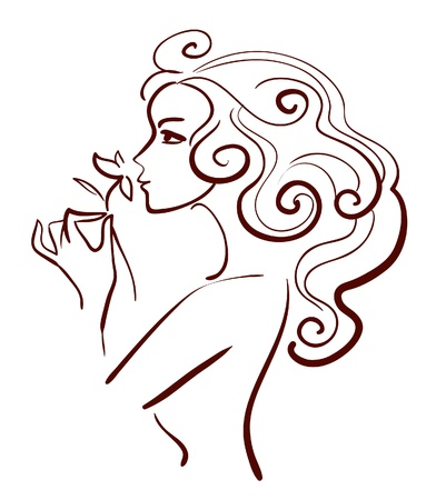 Beautiful woman with flower, linear illustration Illustration