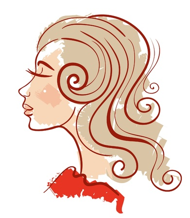 Beautiful girl linear silhouette  Vector