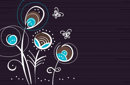 modern garden: Abstract floral background with cartoon butterflies Illustration