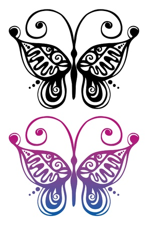 handwork: Black and color silhouette of butterfly
