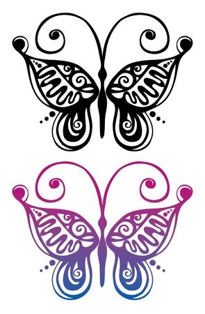 trabajo manual: Negro silueta y colores de la mariposa