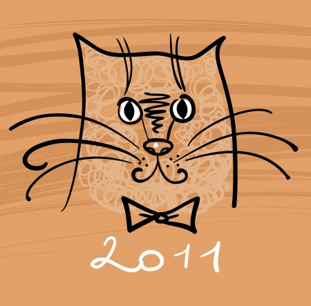 Cartoon cat illustration for 2011  Vector