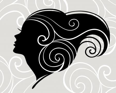 hair style: Beautiful woman silhouette
