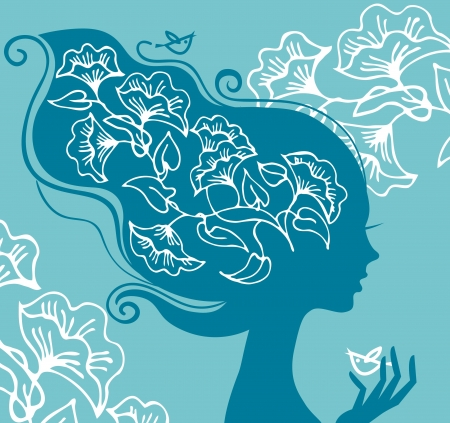 Beautiful woman silhouette with flowers and birds Vector