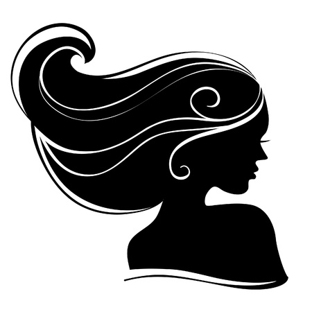 black woman face: Beautiful woman silhouette