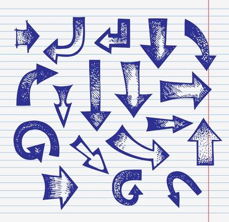 flecha azul: Conjunto de flechas dibujadas a mano