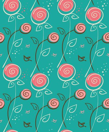 Abstract floral pattern with birds Vector