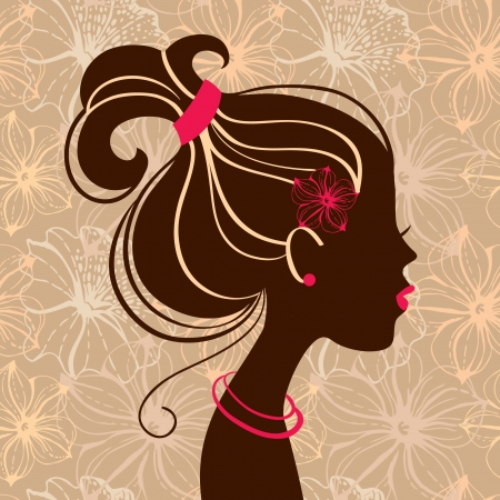 Beautiful woman silhouette with flowers Stock Vector - 15858450
