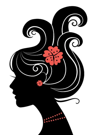 black woman face: Beautiful girl silhouette Illustration