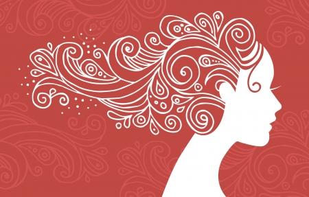 perfil de mujer rostro: Silueta de la mujer hermosa con las flores