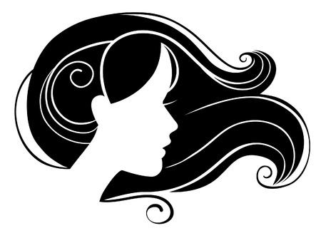 visage femme profil: Belle silhouette de femme Illustration