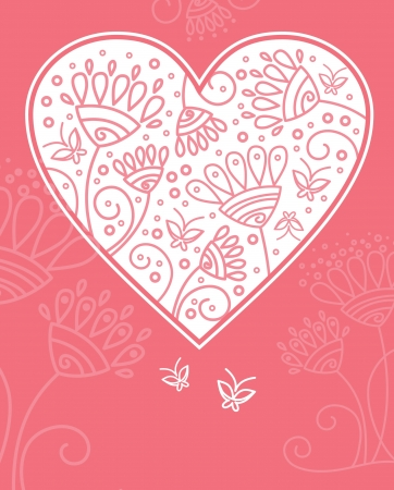 Floral heart design Vector