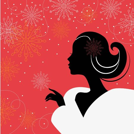 floral swirls: Beautiful girl with snowflakes  Illustration