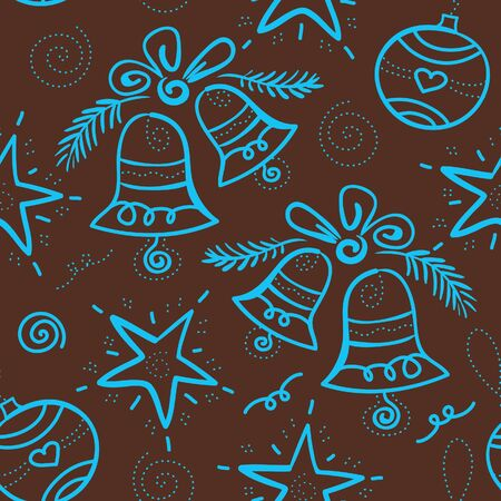 Christmas seamless pattern with snowflake, bell, star, element for design  Vector