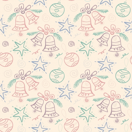 Christmas seamless pattern with snowflake, bell, star, element for design  Illustration