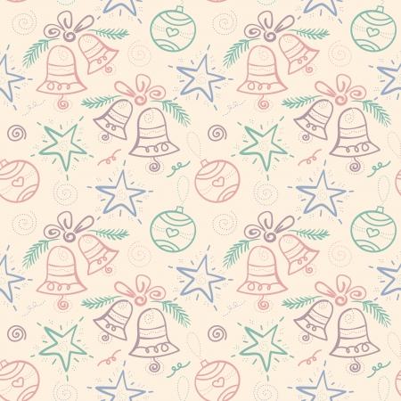 iteration: Modello di Natale senza saldatura con fiocco di neve, campana, stella, elemento di design