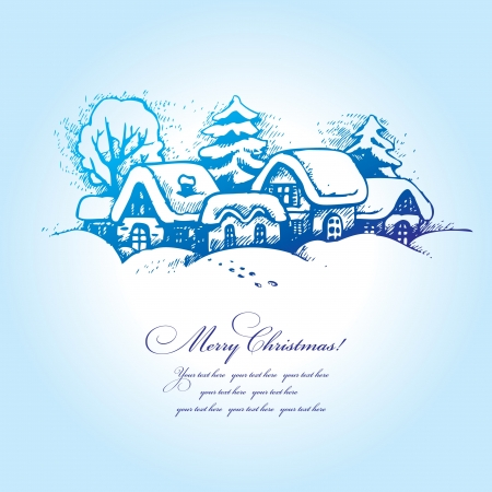 christmas snow scene: Christmas landscape