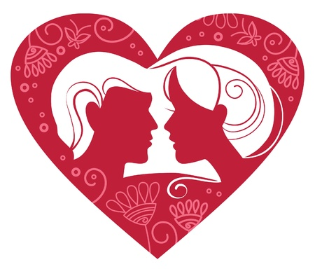 Silhouette of couple in floral heart  Vector