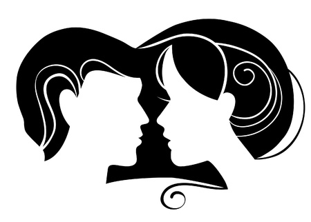 dating and romance: Silhouette of man and woman in love Illustration