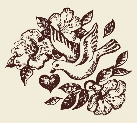 hand drawn wings: Bird with heart and flowers  Hand-drawn illustration