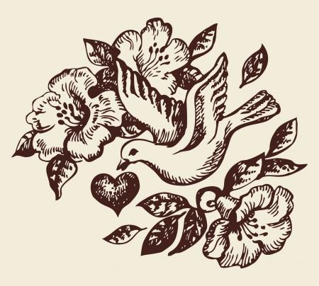 paloma caricatura: Pájaro con el corazón y las flores a mano de la ilustración