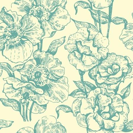 outline flower: Seamless floral pattern