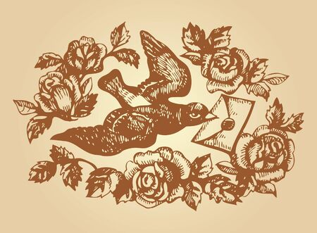 stroked: Bird with love letter and flowers  Hand-drawn illustration