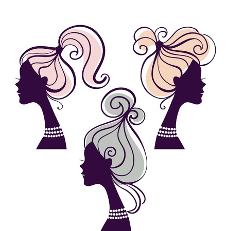 red head girl: Beautiful women silhouettes