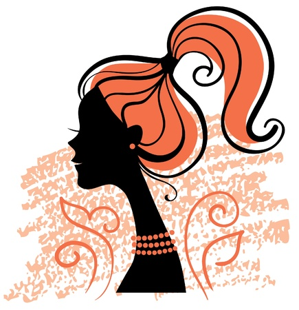 pretty head: Beautiful girl silhouette with flowers