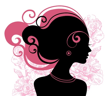 female hair: Beautiful woman silhouette with flowers