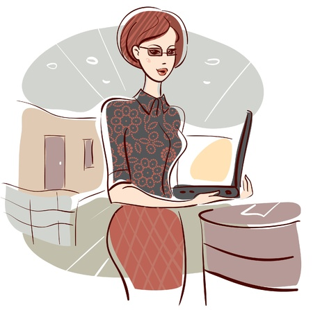 Illustration of business woman in office  Vector