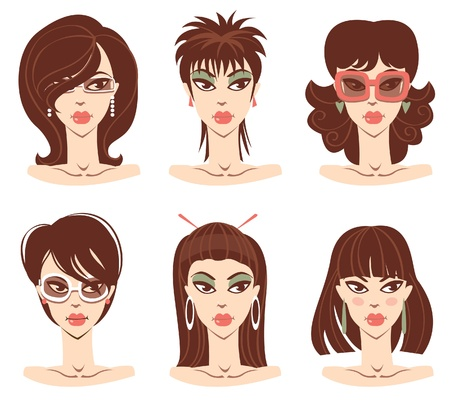 Set of woman portraits  Vector