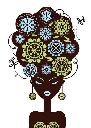Bella donna silhouette con un fiori Vettoriali