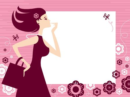 Banner with shopping girl  Vector