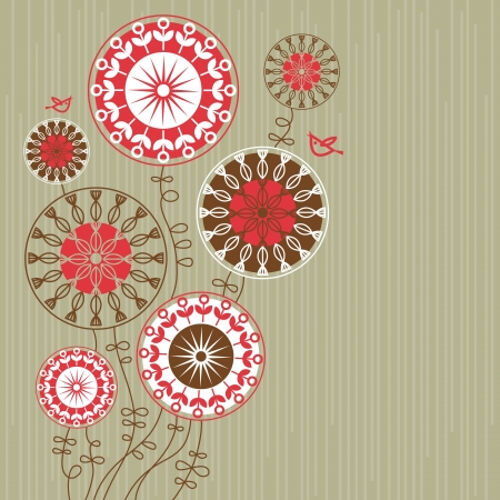 vintage wallpaper: Floral background with cartoon birds