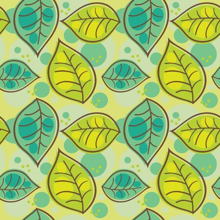 green leafs: Seamless pattern with summer leafs