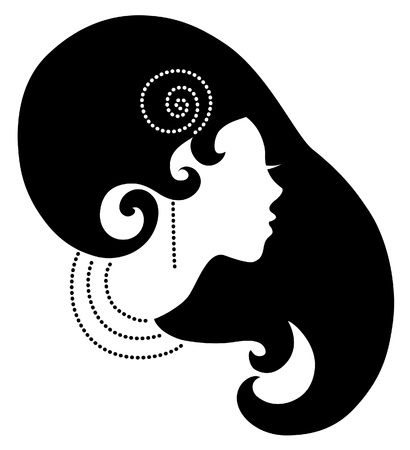 pretty face: Beautiful woman silhouette