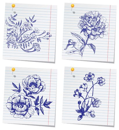 hand drawn flower: Hand-drawn doodle flower set in sketchbook