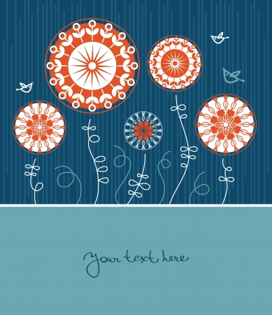 Floral background with cartoon birds  Vector