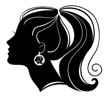 black hair:  Beautiful woman silhouette Illustration