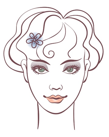 Beautiful woman portrait, linear illustration Vector