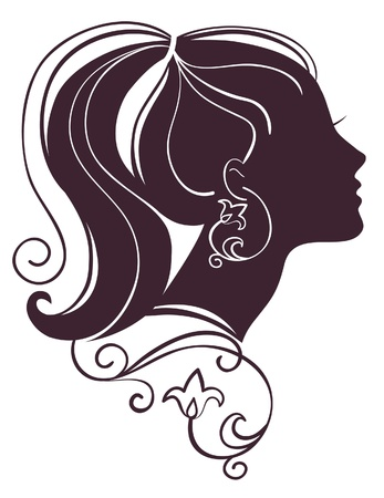 Beautiful woman silhouette with flowers Stock Vector - 15905067