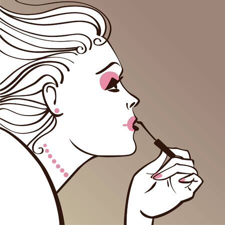 Beautiful woman applying make-up  Vector