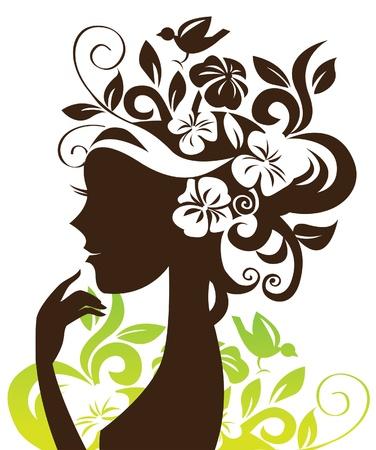 perfil de mujer rostro: Silueta de la mujer hermosa con las flores y los p�jaros