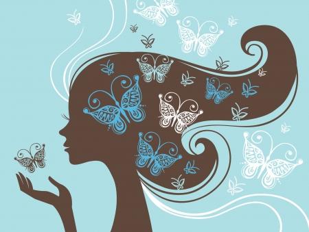 femme papillon: Silhouette belle femme avec papillon