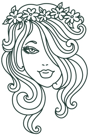 beautiful girl face: Beautiful woman with flower, linear illustration Illustration